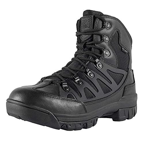 FREE SOLDIER Botas tácticas de Tiro Medio Alto Zapatos de Trekking de Invierno Botas de Cuero, Hombre(Cuero Negro,46 EU)
