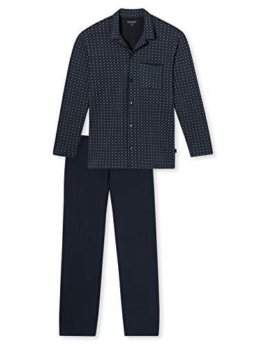 Schiesser Herren Pyjama Lang Zweiteiliger Schlafanzug, Blau (Petrol 811), Large (Herstellergröße: 102)