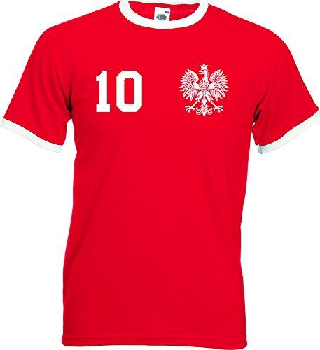 WM Polska Polen Herren T-Shirt Beidseitig Bedruckt mit Wunschname & Zahl, Rot, Gr. M