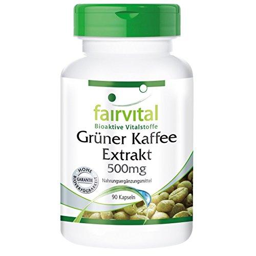Extracto de Café Verde 500mg - VEGANO - Dosis elevada - 45% de Ácido clorogénico - 90 Cápsulas - Calidad Alemana