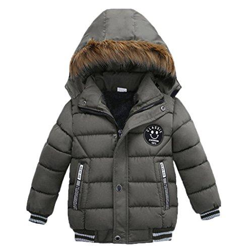 K-youth® Ropa Niño Invierno Sudadera con Capucha Abrigo De Algodón Engrosamiento Chaqueta (Gris, 2 años)