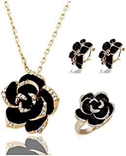 18K gold plated Jewelry Set black rose flower Necklace Earrings (MM0103)