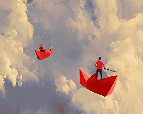 Jkykpp papieren boot rood in de hemel met de hand beschilderd creatief olieverfschilderij 24 kleuren pigment penseel schilderen knutselen volgens nummer