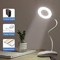 Zznvs. USB表ランプLEDデスクランプタッチクリップ研究ランプ拡大鏡グースネックデスクトップUsbのテーブルライト充電式 (Color : White, Wattage : 8W)