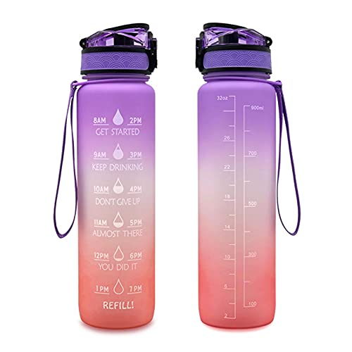 su-xuri 1L Botella de Agua Motivacional, BPA Botella a Prueba de Fugas Gratis con Marcador de Tiempo, Botella de Agua de plástico de Color de gradiente para Gimnasio Yoga Fitness