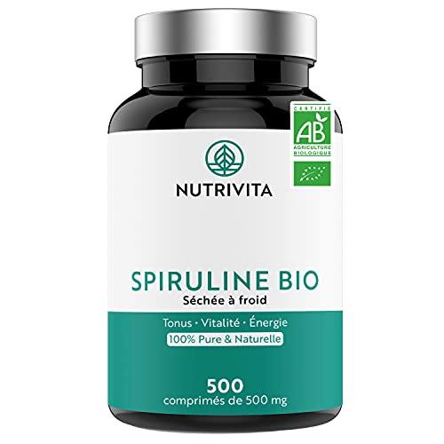 Espirulina Ecológica Pura | 500 Comprimidos de 500 mg | Rico en Proteínas, Ficocianina, Minerales y Vitaminas | Detox, Energía, Vitalidad | 100% Vegano | Nutrivita
