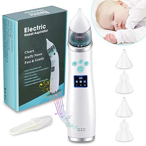Sacamocos bebe,Aspirador nasal bebes,Pantalla LED de carga USB con 3 niveles de succión, 4 tamaños de cabezal de silicona, aspirador nasal neonatal portátil