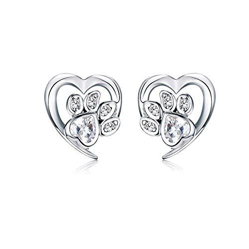 Regalo de Navidad Pendientes de plata de ley 925 con diseño de huellas de gato, circonitas cúbicas, joyería para orejas sensibles