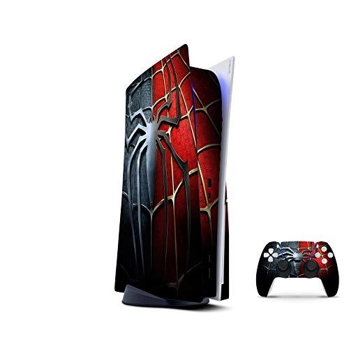 PS5 Skin Console Controllers De 46 North Design, Misma Calidad Que Las Calcomanías De Coche, Araña Superhéroe Rojo Azul Oro, Alta Calidad, Duradera, Compatible Con PS5 W/Disk, Fabricado En Canadá