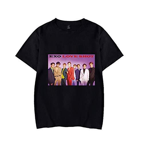 Xkpopfans Kpop EXO Shirts New Album Love Shot T-Shirt Sehun Baekhyun Suho Xiumin Tee Shirt XL Black C Colorado