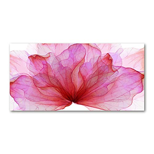 Tulup - Pantalla Anti Salpicaduras para Cocina - 100x50cm - Panel antisalpicaduras - Cubierta antisalpicaduras - Placa protectora - Panel de Vidrio para Cocina - Flor Rosa