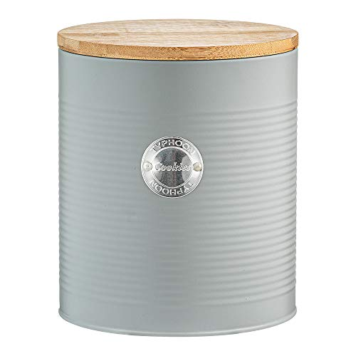 Typhoon Living Airtight Seal Cookie/Biscuit Storage Canister with Bamboo Lid, Grey