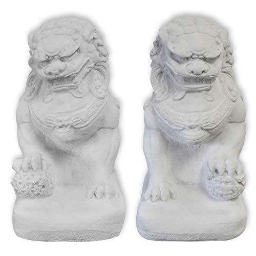Wilai Fu-Hund Set männlich + weiblich weiß STEINGUSS frostfest Wächterfigur Tempelwächter wachender Löwe FOO Dog 32 cm hoch