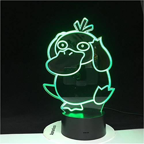 3D Illusion LED Little Duck is dumbAction Figure Night lightPocket Toy 7 Colors USB Luminous modelToy Lights for Kids Gifts