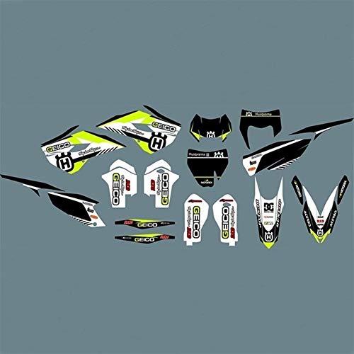 For Husqvarna 15-14 de la Motocicleta Decal gráfico Pegatinas for la Husqvarna TC FC TE FE 125 250 300 350 450 501 2014 2015 Motocross Pegatinas (Color : Black)