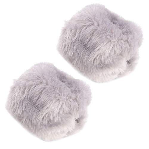 BESPORTBLE Kunstpelz Handgelenksmanschetten Wärmer Fuzzy Stiefelmanschetten Beinwärmer Winter Herbst Armband für Frauen Dame 1 Paar Hellgrau