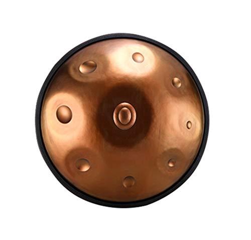 Tambor Handpan de 55 cm / 22 pulgadas, instrumento de percusión de tambor de lengua de acero, nuevo instrumento clásico de la familia Zen en re menor, con baquetas y funda-9tonestandard