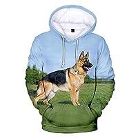 かわいいジャーマンシェパードプリント3Dフーディーセーターポケット付き長袖アウタージャケットスウェットシャツ (Color : 10, Size : 110CM)