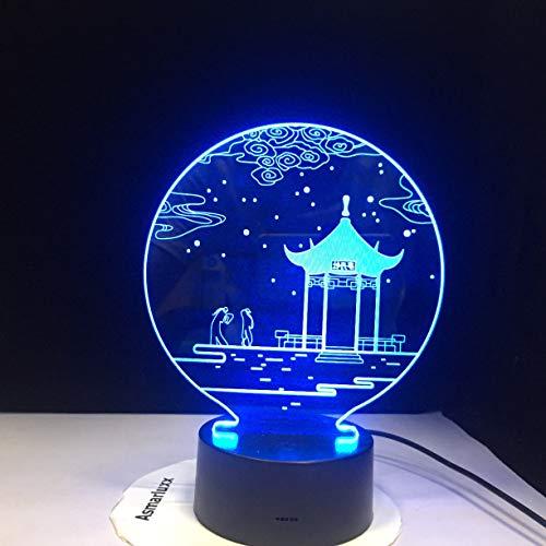 Alter Pavillon Pavillon Kabinettsrat Nachtlicht 3D LED USB Tischlampe Kinder Geburtstagsgeschenk Nachtzimmer Dekoration