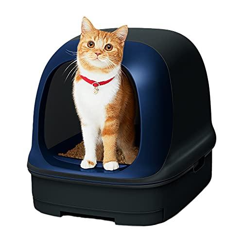 [Amazon限定ブランド] スマイリーBOX 猫用トイレ本体 ニャンとも清潔トイレセット [約1か月分チップ・シート付] ドームタイプ ヴィンテージネイビー (猫ちゃん想い設計) 猫砂