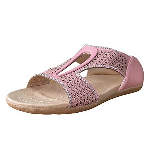 GEU - Sandalias de piel para mujer, de verano, con puntera abierta, planas, para interior y exterior, cómodas zapatillas de verano