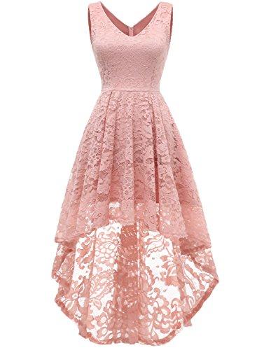 MuaDress 6666 Damen Kleid Ärmellose Cocktailkleider Knielang Abendkleider Elegant Spitzenkleid V-Ausschnitt Asymmetrisches Brautjungfernkleid Blush XS
