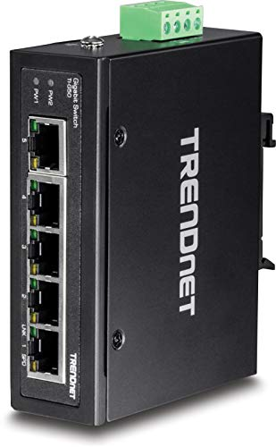 TRENDnet 5-Port-gehärteter industrieller Gigabit-DIN-Schienen-Switch, TI-G50, 10-Gbit / s-Switching-Kapazität, Gigabit-Netzwerk-Switch mit Schutzart IP30, DIN-Schienen- und Wandhalterung inklusive