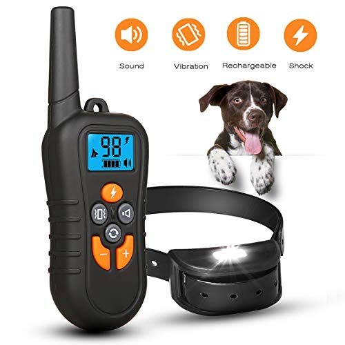 Hardcraft-Best Dog Training Collar Rechargeable Dog Shock Collar w/4 Training Modes, 100% Waterproof with 1500ft Remote Range, 0~99 Levels Harmless Safe for All Dogs