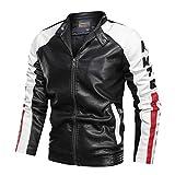 GUOCU Chaquetas de Cuero Hombres Chaquetas Moto Biker Invierno Suave Chaqueta de Motorista de Cuero Coat Capa Abrigo Jacket Cazadora Negro XL