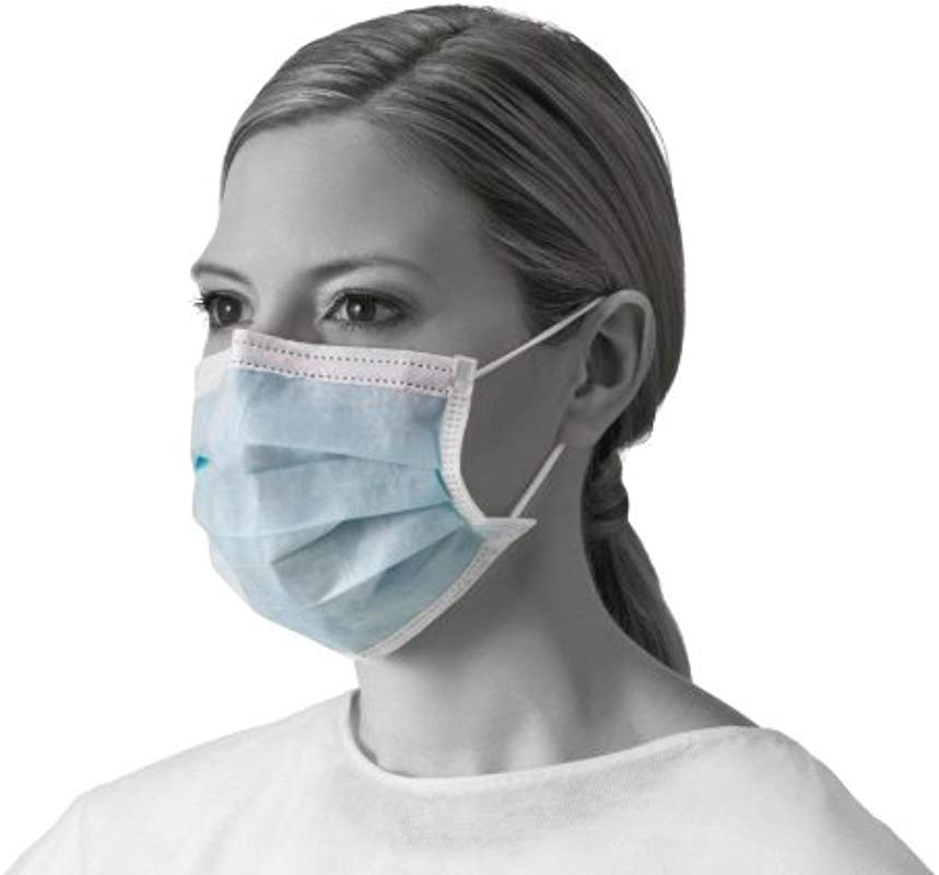 Medline NON27378 Basic Procedure Face Masks With Earloops Polypropylene Latex Free Blue Pack Of 300