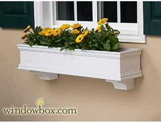 42 Inch Lancaster Direct Mount No Rot PVC Composite Flower Window Box w/ 2 Decorative Brackets