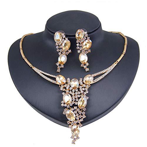 Yddxy Collar de Mujer Pendiente Mosaico Cristal y Colgante de circonita cúbica Conjunto de joyería de aleación de Moda (Pendiente + Collar),Oro
