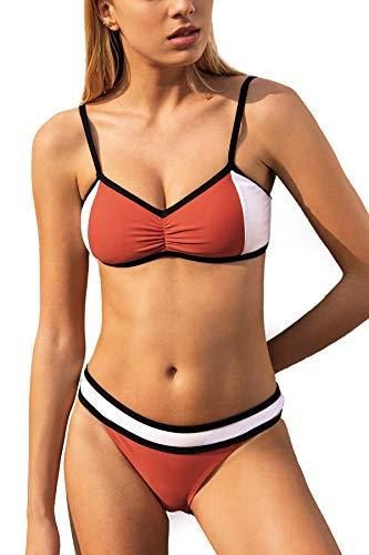 CUPSHE Conjunto de Bikini para Mujer Color Block Fruncido Cintura Baja Traje de Baño de Dos Piezas, S