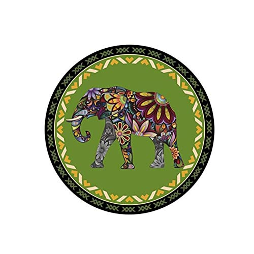 DIAOSI Thaise olifant tapijt Zuidoost-Azië ronde draaibare stoel mat kleur beroemde familie wind tapijt studie ligstoel sofa mat Upgraded plastic slip basis dikte 6mm machine wasbaar.