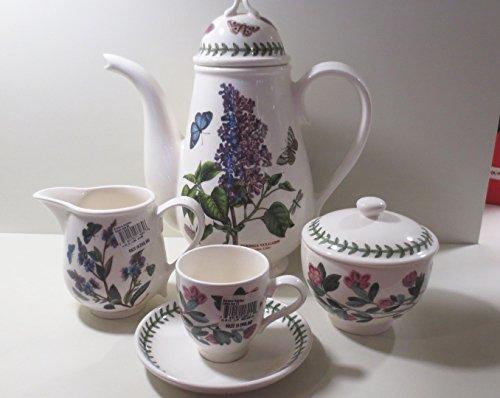 Portmeirion Botanic Garden - Servicio de café de 9 piezas, 6 tazas de 0,11 l, azucarero, cafetera de 1,5, cremiera 0,35