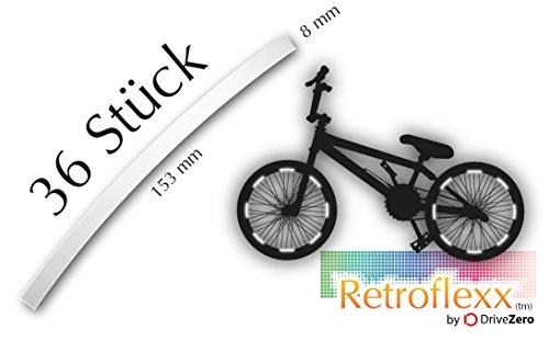 .drivezero. Retroflexx Reflektorenbögen 8 mm für Fahrradfelgen, 36 Stück in Weiß