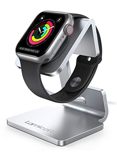 Lamicall Supporto per Apple Watch, Stazioni di Ricarica - Supporto Dock per Apple Watch Series SE, iWatch Series 6, 5, 4, 3, 2, 1, iWatch 44mm / 42mm / 40mm / 38mm - Argento
