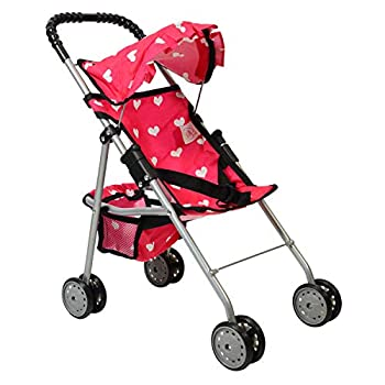 The New York Doll Collection My First Doll Stroller with Basket & Heart Design Foldable Doll Stroller Pink