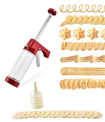 CHSEEO Pistola para Decoración de Tartas y Galletas, Prensa para Galletas Pistola Reposteria Maquina de Pastas Moldes para Galletas Jeringa con Discos y Boquillas #8