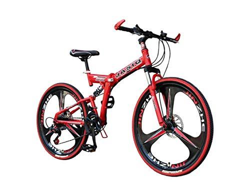 Mountain Bike 21 Velocità Unisex Doppia Sospensione Bike in Acciaio ad Alto Tenore Di Carbonio 24 Pollici 26 Pollici Integrale Ruota Freno a Disco Doppio Studente Bambino Pendolare City Pieghevole