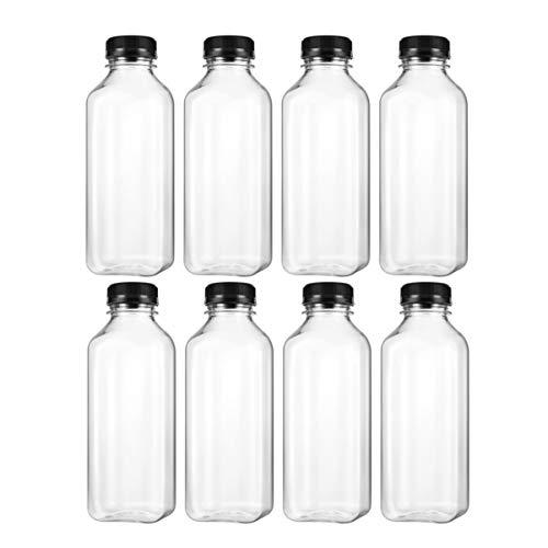 NUOBESTY - Lote de 8 botellas de zumo clásicas de plástico Vías reutilizables - Recipientes a granel de leche desechables transparentes con tapas de tapones inviolables negros, 500 ml