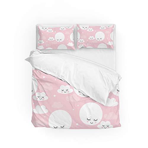 Conjunto de capa de edredom, capa de edredom, capa de cama, sem costura, luas, nuvens, decoração de casa, Queen 3 peças, capa de colcha, capa de travesseiro