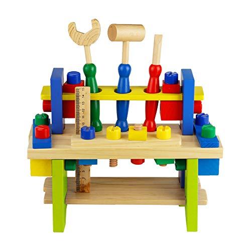 Nuheby Kit Attrezzi per Bambini 42 PCS Cassetta Attrezzi in Legno da Lavoro Giochi per Bambini Giochi Educativi Giochi di Ruolo Regalo Ragazzi Ragazze 3,4,5,6 Anni
