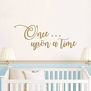 BATTOO Once Upon a Time Wall Decal Vinyl Lettering Childrens Wall Decal- Once Upon Decal Playroom Decals Baby Nursery Wall Art Childrens Wall Decor(Gold, 48 WX19.5 H)