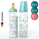 Lelekka - Biberón de Cristal Natural con tetina redondo de látex y flujo normal para bebé de 0m+, 240 ml, Juego de 2, made in Germany