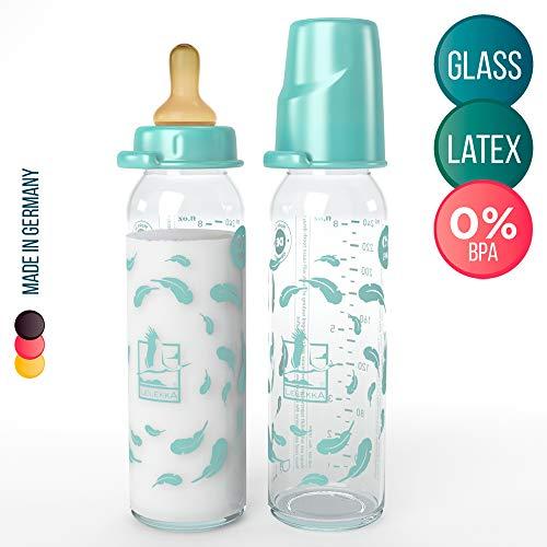 2er Pack Sparset Lelekka® Standard Glasflasche mit Rund Sauger aus Latex, Größe M, Milch, ab Geburt, 240 ml, Naturlatex
