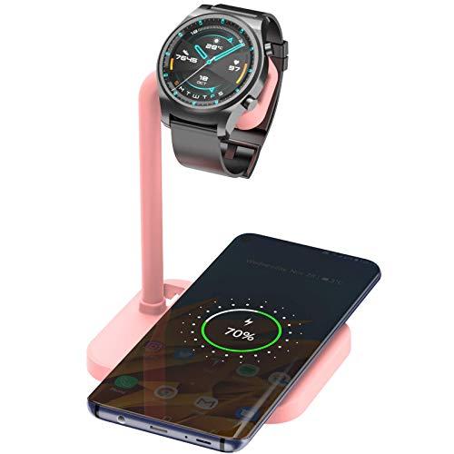 Adecuado para Huawei iPhone12 iWatch teléfono móvil reloj base de soporte MagSafe de carga inalámbrica dos en uno