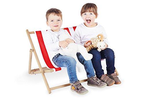 Pinolino Liegestuhl Linus für 2, 2-fach verstellbar, klappbar, Platz für 2 Kinder, ab 2 Jahren, natur und Streifen rot/weiß