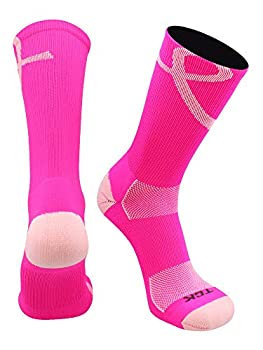 TCK Pink Ribbon Awareness Crew Socks  Hot Pink/Pink Small