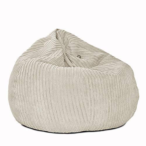 rucomfy Beanbags Jumbo Cord Kids Mini-Slouch Bean Bag Chair - Pre-Filled - Hard Wearing - Machine Washable - 60cm x 80cm (Platinum)